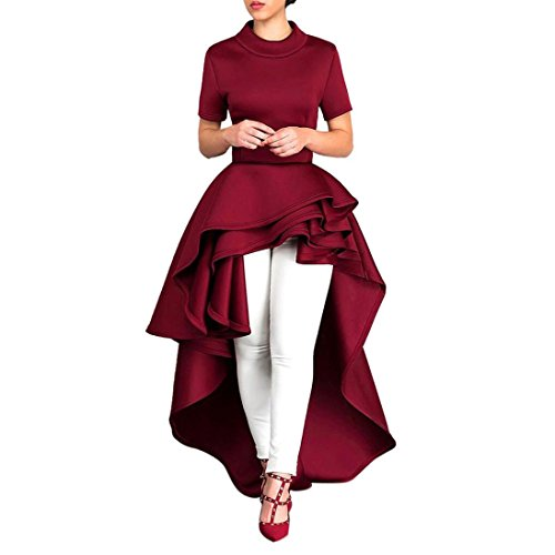 Party Dress,Han Shi Women Turtleneck Short Sleeve High Low Peplum Bodycon Casual Clubwear (Red, - Clothes Women For Party