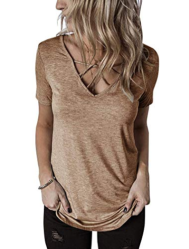 GOCHIC Women's Short Sleeve V Neck Shirts Criss Cross Top Basic T Shirt Khaki M ()