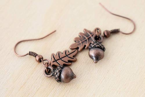 Enchanted Leaves - Copper Acorn Earrings - Cute Fall Acorn Charm Earrings ()