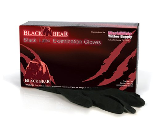 LARGE Black Bear Exam Grade Black Latex Disposable Gloves (Powder Free) 100pcs/box (Black Knight Best Gloves)