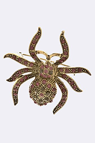 [TRENDY FASHION JEWELRY CRYSTAL STUDDED SPIDER PIN BY FASHION DESTINATION   (Purple)] (Peacock Spider Costume)