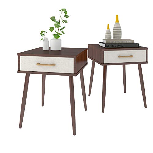 (Lifewit 2PCS Nightstand with 1 Fabric Drawer, Bedroom Side Table Bedside Table, Modern Design Accent Table, Sturdy and Easy Assembly, 15.7 × 15.7 × 20 inches, Brown)
