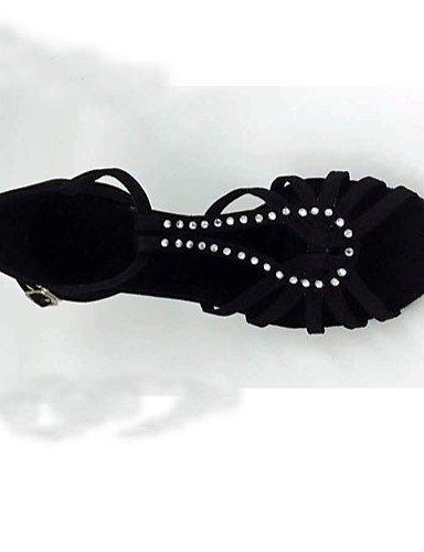danse Latine Chaussures Noir Black Talon Non ShangYi Personnalisables Flocage de Aiguille qAZxHz1wE