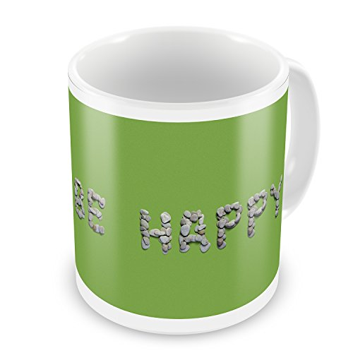 Coffee Mug Be Happy Spa Stones Rocks - NEONBLOND by NEONBLOND