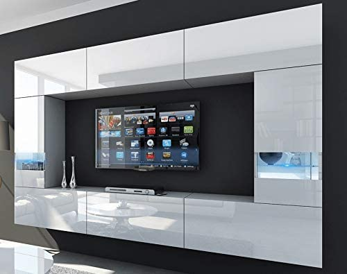 HomeDirectLTD Future 29, Conjunto de Muebles De Salón, Módulo Bajo para TV Y Multimedia, Unidad de Entretenimiento, Mueble TV, Suite a Estrenar (Iluminación RGB LED Opcional) (29_HG_W_2, Azul LED): Amazon.es: Hogar