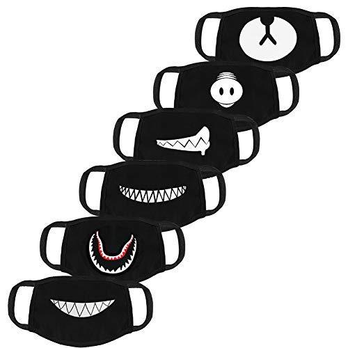 (Atomcool 6 Pack Anti-Dust Anime Mask, Black Unisex Cotton Fashion Face Mouth Mask for Kids Teens Men Women (Teeth EXO Bear Pig Pattern))