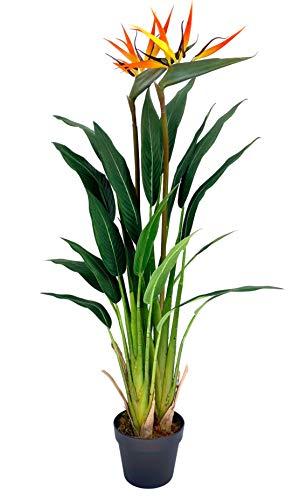 Werandah Artificial Silk Bird of Paradise Palm Tree Potted Plant, Lush, 3.7′ Ft Fake Tropical Palm Tree Faux Strelitzia…