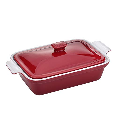 vancasso Casserole Dish with Lid, 1.9 Quart Stoneware Bakeware with Cover, Rectangular Lasagna Pan for Cooking, Dinner…