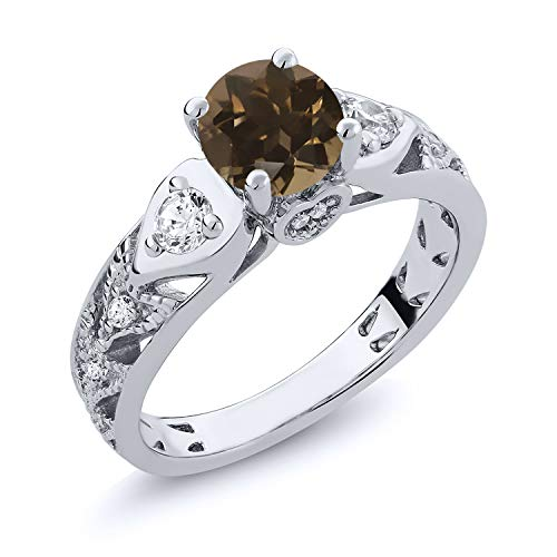 Gem Stone King 2.06 Ct Round Brown Smoky Quartz 925 Sterling Silver Engagement Ring (Size 7)