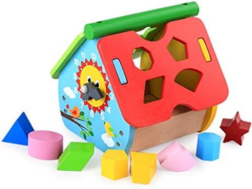 3歳以上の男の子と女の子のための幾何学スタッキングゲームパーフェクトなギフトの木製ソーターキューブ玩具形状 (色 : Multi-colored)