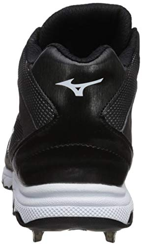 Mizuno Women's 9-Spike Advanced Sweep 4 Mid Metal Softball Cleat Shoe, Black/White 7.5 B US by Mizuno (Image #2)