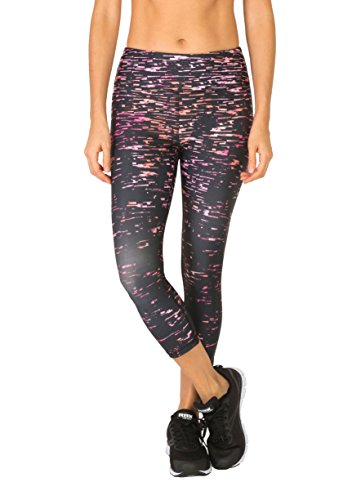 RBX Active Women's Crackle Printed Yoga Capri Black/Pink Combo XL