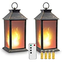 "13"" Vintage Style Lantern,Flickering Flame Effect Tabletop Lantern(Black,Remote Timer and Batteries Included) Indoor/Outdoor Hanging Lantern,Decorative Candle Lantern ZKEE (Set of 2)"