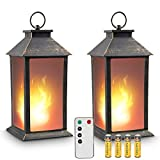 zkee 13' Vintage Style Lantern,Flickering Flame Effect Tabletop Lantern(Black,Remote Timer and Batteries Included) Indoor/Outdoor Hanging Lantern,Decorative Candle Lantern (Set of 2)