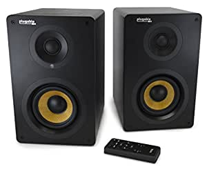 "Plugable 4"" Subwoofer Bluetooth 2-Channel Powered Bookshelf Studio Monitor Speakers - Optical & RCA Aux Inputs, 55W Output Power"