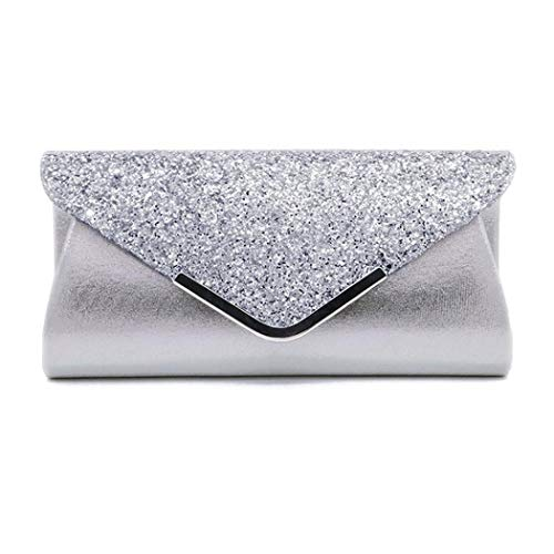 - Vistatroy Women Glitter Sequins Envelope Evening Bag Handbag Party Bridal Clutch Purse (Silver)