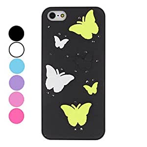 YXF Various Color Butterfly Embossed Hard Case for iPhone 5/5S (Assorted Colors) , Black