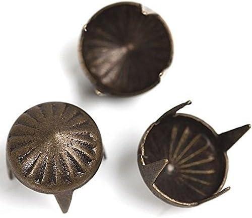 200pcs Antique Bronze 4 Studs Prong Umbrella Spot Nailhead 7-8mm Crafting Garment Sewing On T-shirts,Leather,Clothing K41