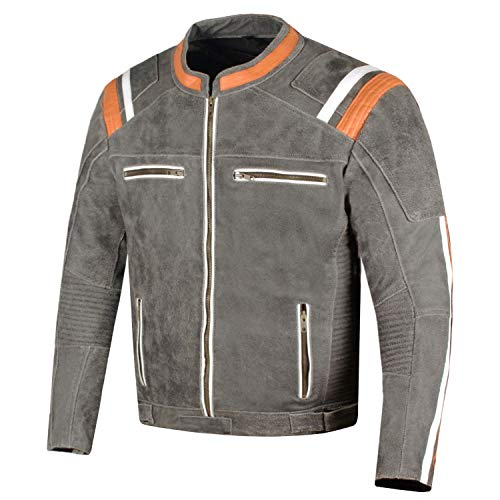 (Men's Classic Cafe Racer Street Motorcycle Distress Leather Armor Biker Jacket L)
