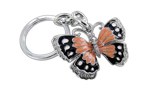 Baron-Jewelry Beautifully Detailed 3D Butterfly Key Chain Surrounded by Clear Crystals. Chrome Coated Metal for a Long Lasting Shine with Bright Color Glossy Enamel. (Orange) ()
