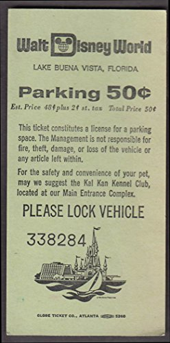 Disney World Lake Buena Vista FL Parking Receipt 50c 10/18 - Vista Fl