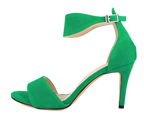 CAMSSOO Women's Sexy Open Toe Mid High Heel Ankle Strap Buckle Solid Color Sandals Shoes Green ZVgE1lOt