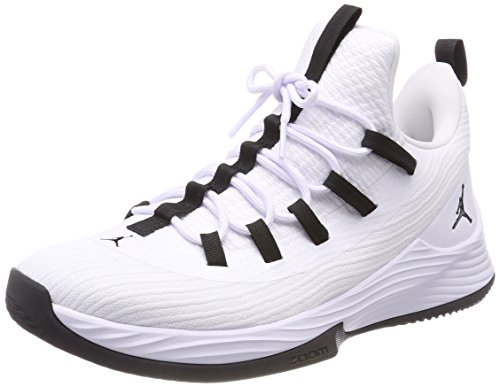 (Jordan Mens Ultra Fly 2 Low Leather Hight Top Lace Up, White/Black, Size)