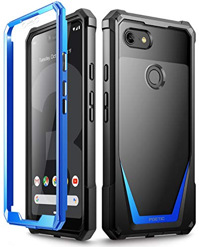 Google Pixel 3 XL Case, Poetic Guardian [Scratch Resistant Back] Full-Body Rugged Clear Hybrid Bumper Case with Built-in-Screen Protector for Google Pixel 3 XL Blue