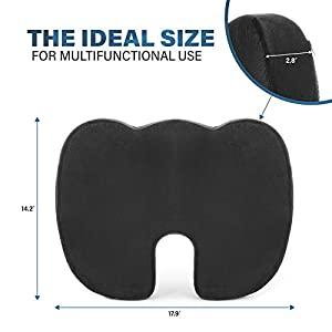 VHR Seat Cushion - Orthopedic Memory Foam Cushion for Relieve Back Pain - Comfortable, Non-Slip - Perfect for Your Office Chair, Car (black)