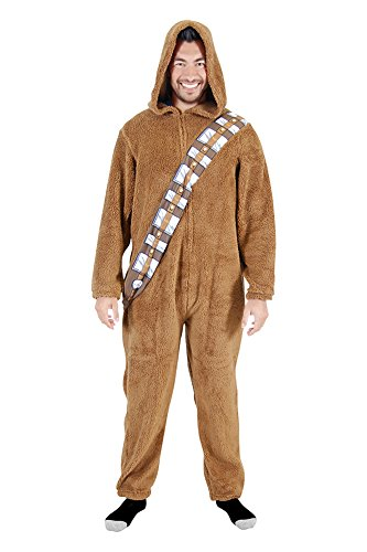 Star Wars Chewbacca Wookie Adult Union Suit Costume Pajama Onesie with Hood (Adult Small)