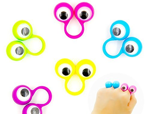 9Snail 24PCS 4CM Eye Finger Puppets Plastic Rings with Wiggle Eyes Assorted Colors Kids Gift Toys Great for Party Favor Pinata Fillers (Ideas For Halloween School Treats)