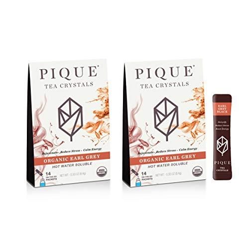 Pique Organic Earl Gray Black Tea Crystals, Antioxidants, Energy, Gut Health, 28 Single Serve Sticks (Pack of 2)