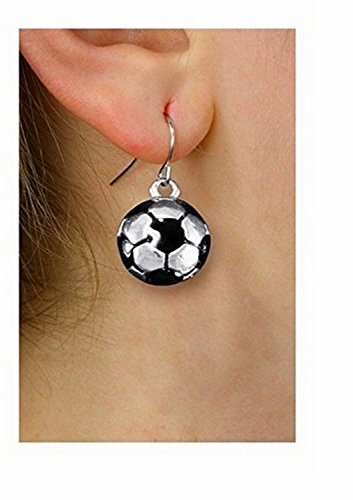 Silver Tone And Black Mini Soccer Ball Charm Earrings by Lonestar Jewelry