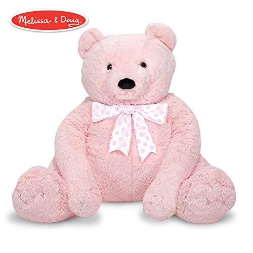 Melissa & Doug Jumbo Pink Teddy Bear Stuffed Animal (2 feet tall)