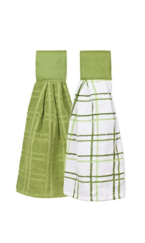 Ritz Kitchen Wears 100% Cotton Hanging Tie Towels, 2 Pack Checked And Solid, Cactus Green, 2 Piece