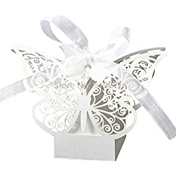 PONATIA 50pcs Laser Cut Butterfly Wedding Favour Box Birthday Party Gifts Candy Boxes (White)