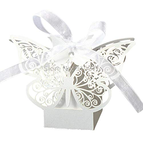 50 Pack Laser Cut Butterfly Wedding Favour Box with Organza Ribbon Birthday Party Candy -