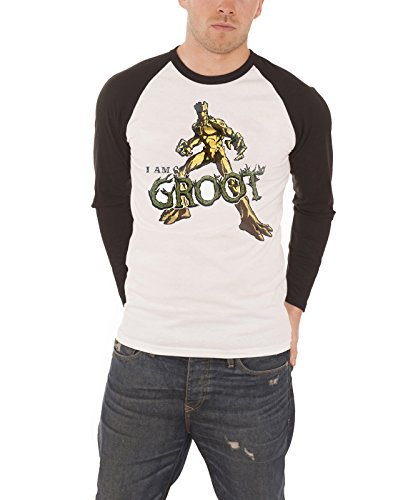 Gaurdians of the Galaxy T Shirt I Am Groot Official Mens White Baseball Shirt (I Am Groot Merchandise)