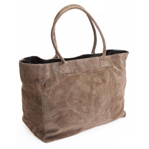 spacieux Noir coleur DELARA bandoulière daim sac en cabas cuir taupe à xcxqwp4Iz1