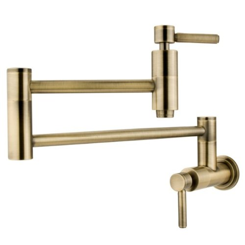 Kingston Brass KS8103DL Wall Mount Pot Filler Kitchen Faucet, Antique Brass