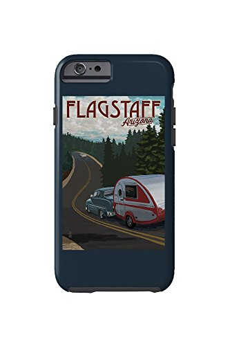 Flagstaff, Arizona - Retro Camper on Road (iPhone 6 Cell Phone Case, Tough)
