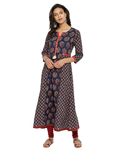 (Aaboli Cotton Kurta for Women 3/4th Sleeve Round Neck Collar Long Dress Printed Tunic Casual Kurti for Women Ladies Partywear)