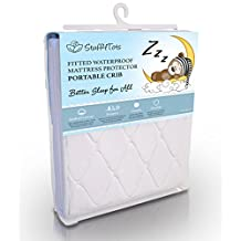 Playard Mattress Pad - Best Fit for Pack n Play and Mini & Portable Cribs - Premium Super-Soft Cotton Fitted Cover Sheet - 100% Waterproof Protection, Hypoallergenic - Money Back Guarantee