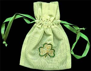 Gift Bag in an Irish Shamrock Design. Beautifully embroidered gift bags, ideal for St Patrick's Day, Irish weddings and celebrations