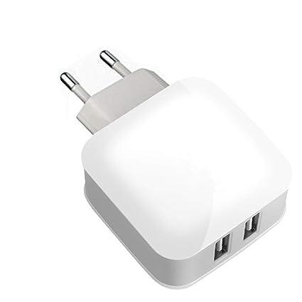 Dual Port cargador USB 4.8 A/24 W USB cargador de viaje con EU ...