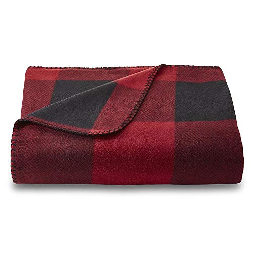 (Essential Home Fleece Throw Blanket, 50-inch by 60-inch (Red/Black Buffalo Check))