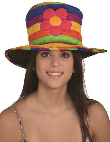 [Jacobson Hat Company Women's Velvet Rainbow Hat with Flower, Multicolor, Adult] (Womens Rainbow Bright Costume)