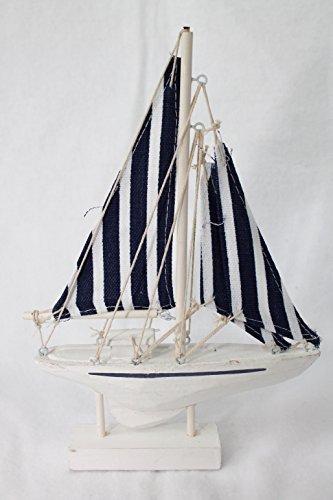 Decorazione Barca a vela blu-bianco 21 cm legno Tessuto Unbekannt