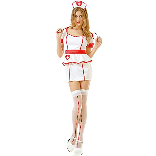 Naughty Nurse Women's Sexy Halloween Role Play Costume Scrubs, White, Large ()