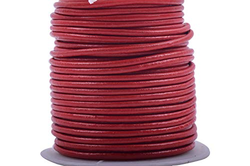 (KONMAY 25 Yards Solid Round 2.0mm Red Genuine/Real Leather Cord Braiding String (2.0mm, Red))